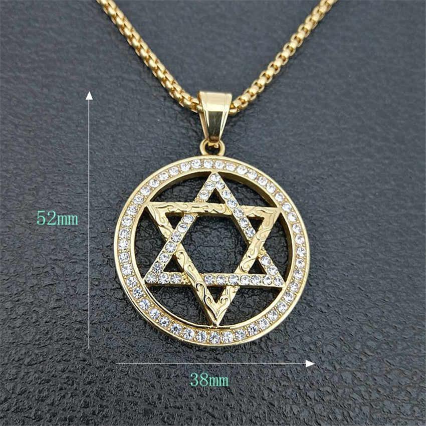 Collar con colgantes de estrella Magen religiosa de David collar de hexagrama de acero inoxidable de Color dorado para mujer/hombre joyería judía helada
