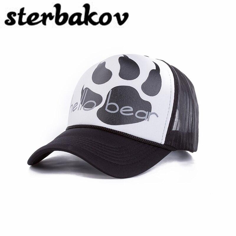 wholesale fashion net font panda paw claw pattern casual baseball bear cap giants hat