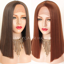 Maycaur Brown Copper Color Short Bob Hair Synthetic Lace Front Wigs Heat Resistant Fiber Glueless Straight Hair for Black Women(China)
