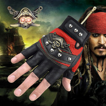 Pirates of the Caribbean theme gloves Sports Climbing Travel Cycling Racing Motorcycling gloves Skull head Half