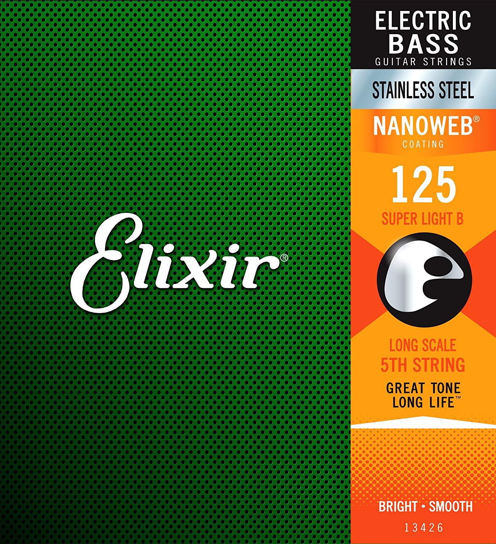 Elixir 13426. 125 Nanoweb Acier Inoxydable Unique Guitare Basse Cordes