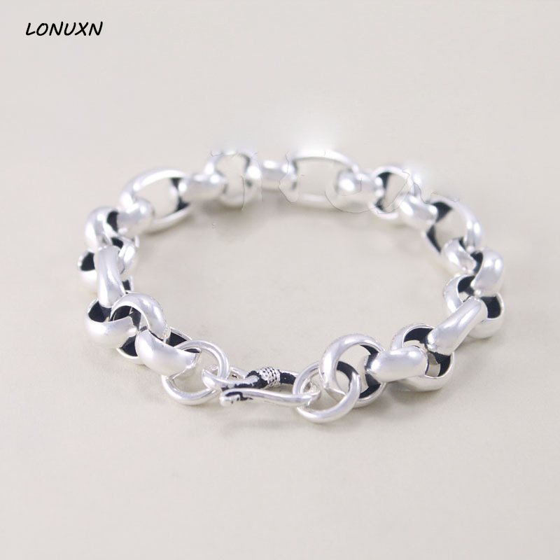 High Quality Men 925 sterling silver bracelet 925 Stamped chain genuine male solid silver bracelet For Women couple Jewelry