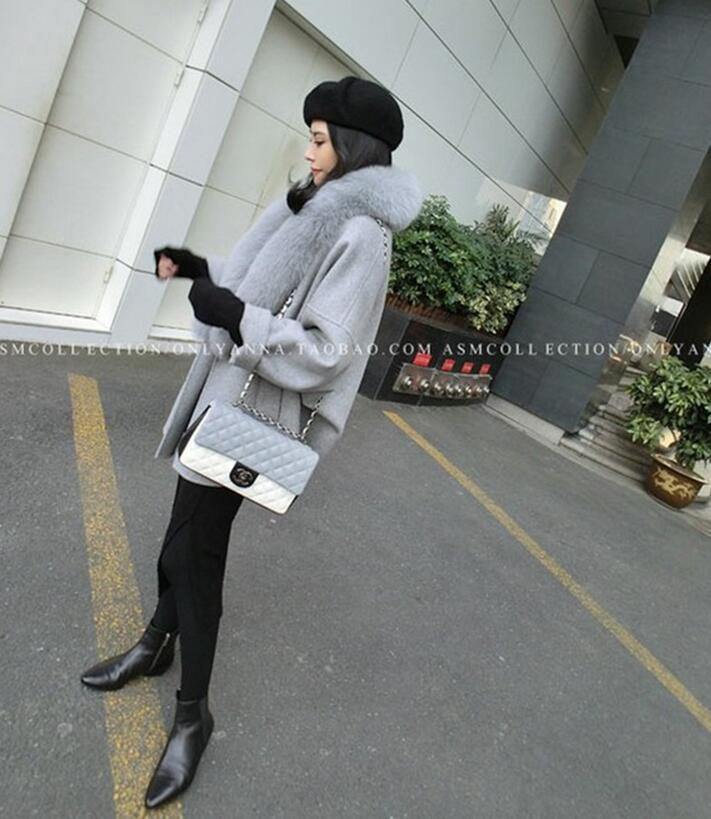 Women Winter Wool Coats Fur Collar Plus Size Grey Warm Loose Woolen Coat Fashion Thicken Long Jackets casaco feminino