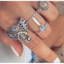 Kisswife 3 pçs/set moda vintage prata cor opala elefante anel conjunto feminino boemia escultura anéis uma venda direta