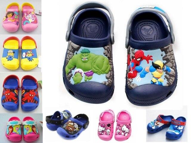Nuevo 2016, elsa anna, hello kitty, dora, spiderman, de dibujos animados en 3D sandalias de playa, zapatos zapatos de la muchacha, zapatos de los niños, los muchachos de las muchachas
