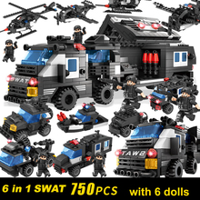 лучшая цена 6 in 1 DIY Military blocks Assembly Building Block SWAT car helicopter model Classical toys for Children Gifts boy toy 750pcs