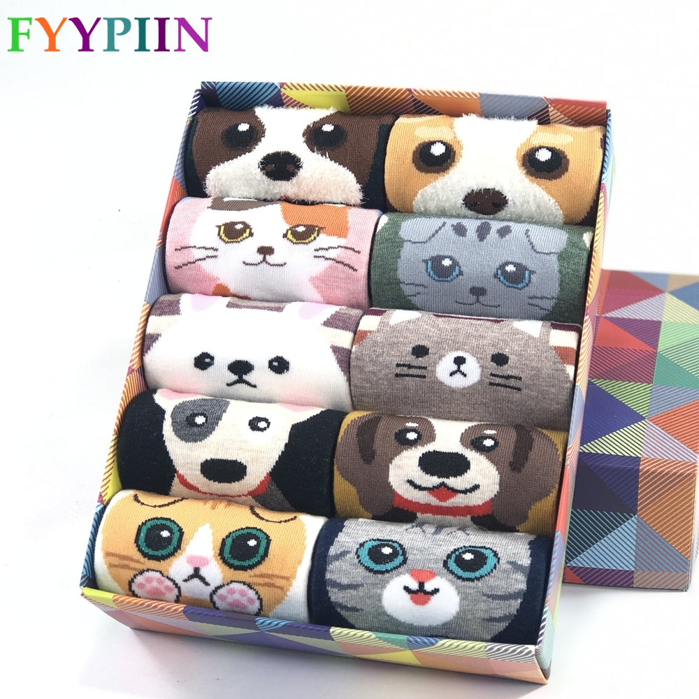 Women Sock Fashion Cartoon New Combed Cotton Socks Kitten Puppy Animal Pattern Funny Socks