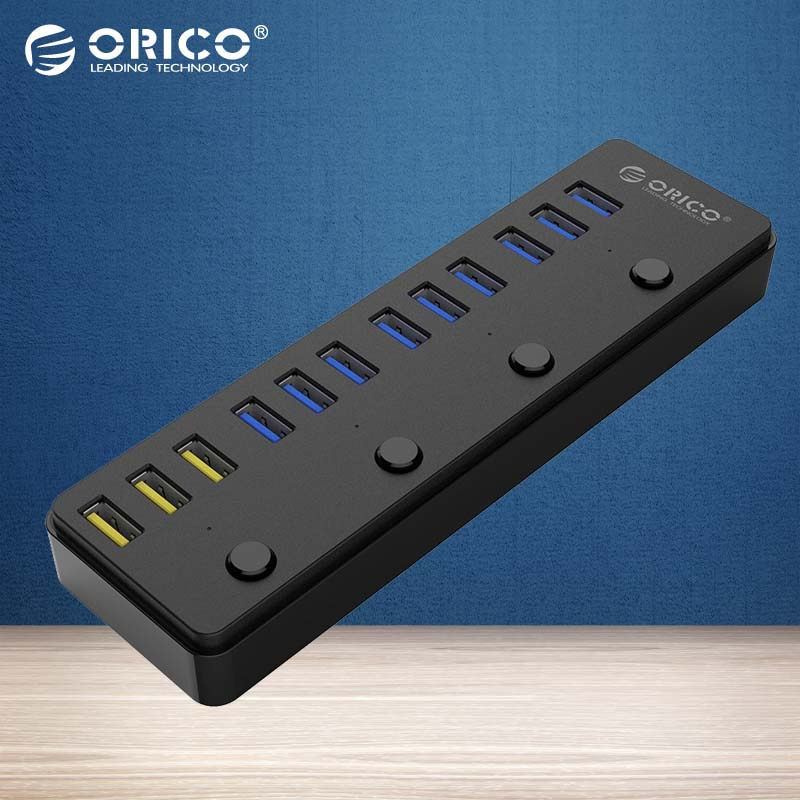 ORICO USB 3.0 Hub 12 Ports 12V 5A Power Adapter including 3 Port BC1.2 Charging Ports Desktop Multi-function -(P12-U3)