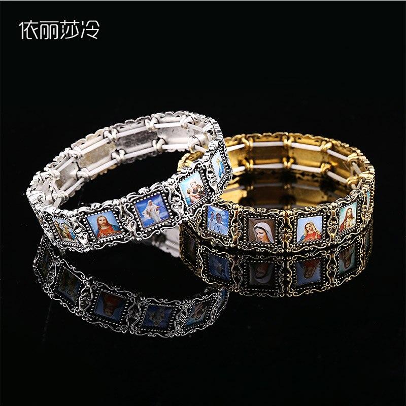 48 Pieces / Handmade Beaded Bracelet Elastic Bracelet Metal Alloy Catholic Saint Image Prayer Bracelet Easter Gift Luxuriant In Design