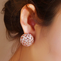 Vintage Round Stud Earring Fashion Earrings Jewerly For Women Rose Gold Plated W CZ Stone Party
