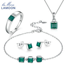 LAMOON 4mm 0.6×2 ct Natural Green Chalcedony 925 Sterling Silver Simple Jewelry Set S925 For Women V008-1