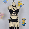women black Harness cage bra Gothic Harajuku sexy lingerie Cage Back complex Garters belt Pentagram body harness bra Leg garters