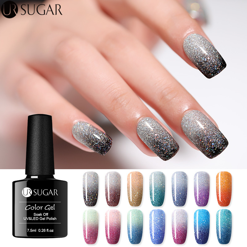 UR SUGAR Rainbow Thermal Color Changing Gel Nail Polish Holographic Glitter Temperature Soak Off UV Gel Varnish 7.5ml Nail Art