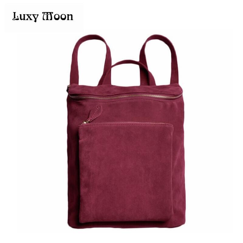 Korean Women Men's Backpack Retro Velvet Leather Double Shoulder Bag Street Bag Big Tote school bag Purses bolsa feminina 0572A