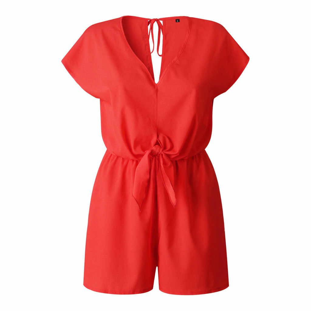 מקרית סרבל נשים קיץ 2019 Blackless V צוואר קצר שרוול Rompers סרבל Playsuit קצר Combinaison Femme