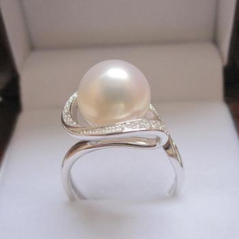 Women Gift word 925 Sterling silver real 9-10-11-12mm white circle to light luxury fashion AAAA S925 Silver Freshwater Pearl Rin