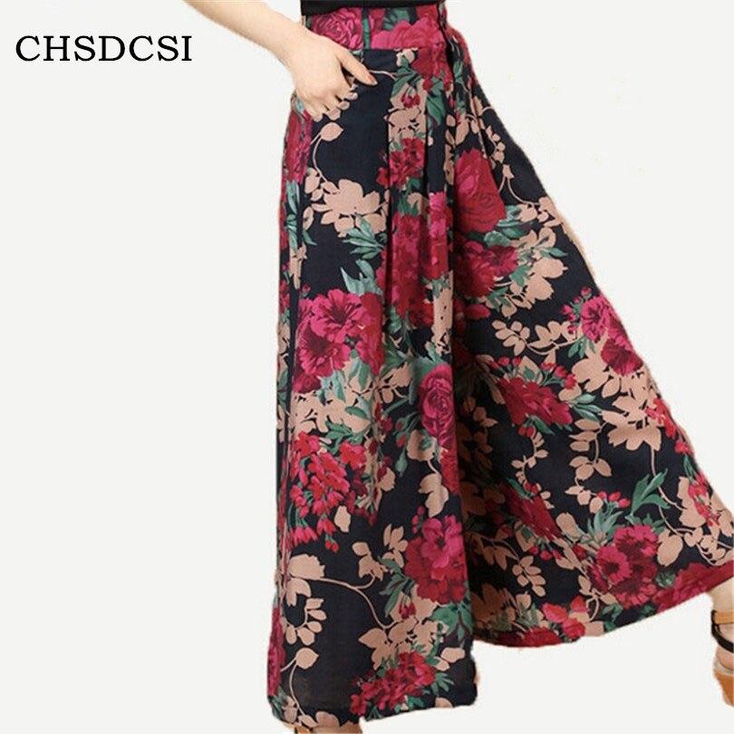 CHSDCSI New Feminina Summer   Wide     Leg     Pant   Flower   Pant   Broeken Woman Linen Female Capris Pattern Skirt Trousers Women Culottes