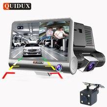QUIDUX 3 Vías Cámara Del Coche DVR HD Cámara Grabadora de Vídeo Dual lente con retrovisor Registrador Dash Cam visión Nocturna de 4.0 pulgadas videocámara