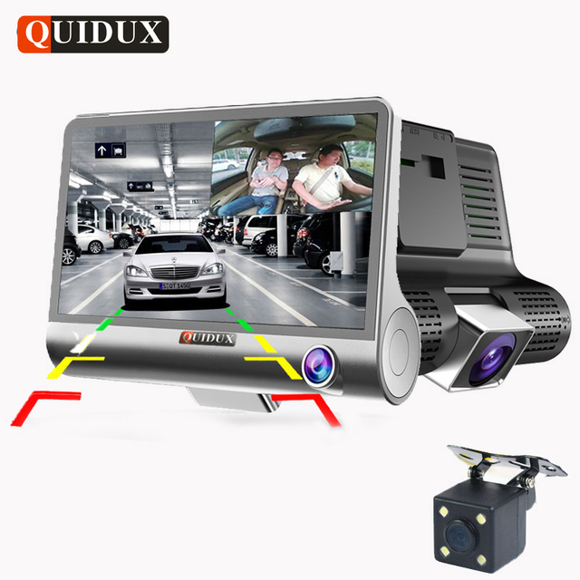 QUIDUX 3 Way Camera Car DVR HD Video Recorder Camera Dual Lens with Rear view Registrar 4.0 inch Dash Cam Night vision Camcorder