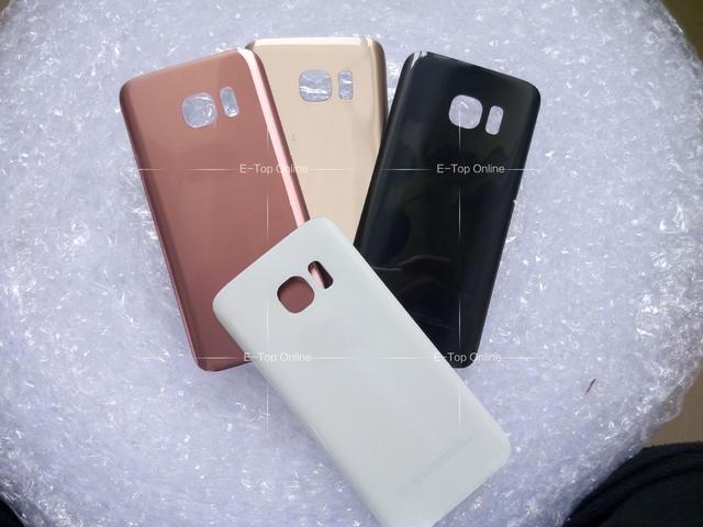 Black/white/Golden Original Glass Battery Cover For Samsung Galaxy S7 / S7 edge Back Housing Battery Door Covers + Sticker