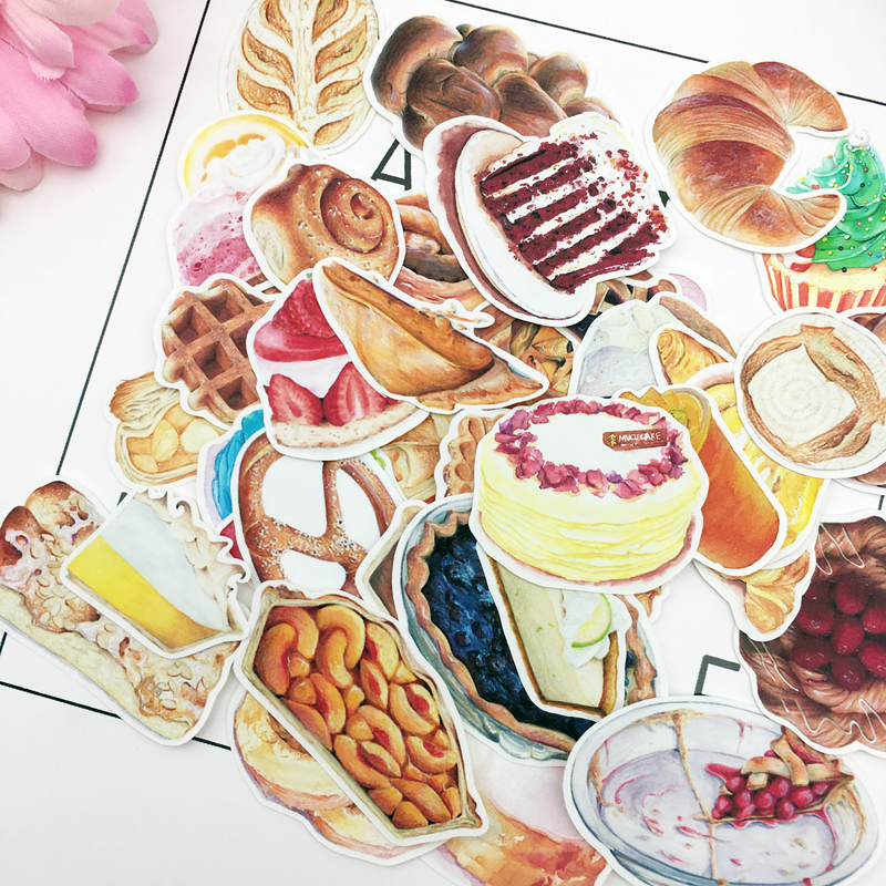 40pcs Hand Drawing Watercolor  Bread And Cakes Decorative Stickers Notebook Planner Scrapbooking, DIY Paper Sticker