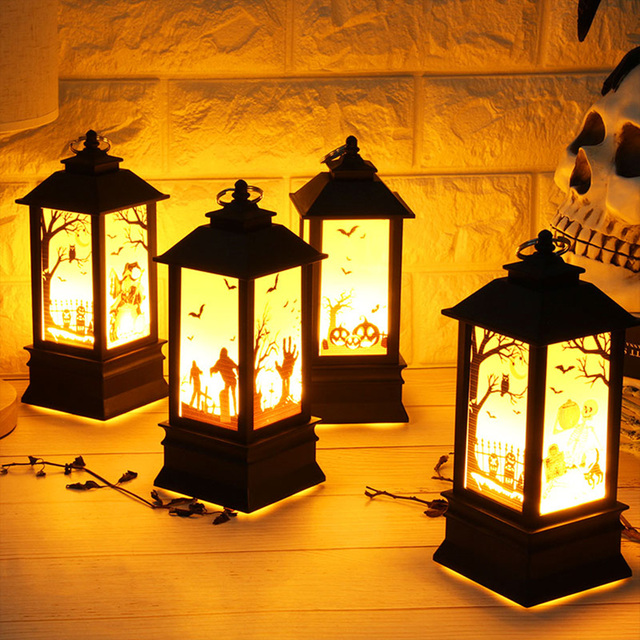 2018 Halloween Vintage Pumpkin Castle Light Lamp Party Hanging Home