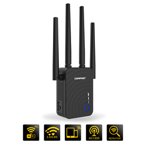 Image 1 - AC1200 Wireless WIFI Repeater Dual Band 1200Mbps 4 External Antenna Wi Fi Range Extender wifi signal amplifier booster router