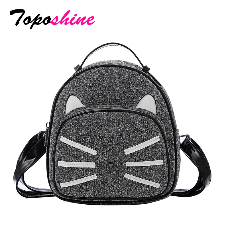 bbf47b41ef95 Toposhine Famous Brand New Fashion Smart Cat Women Backpack Cute Small Teen  Girl Shoulder Bag Shinning PU Leather Lady Backpack-in Backpacks from  Luggage ...