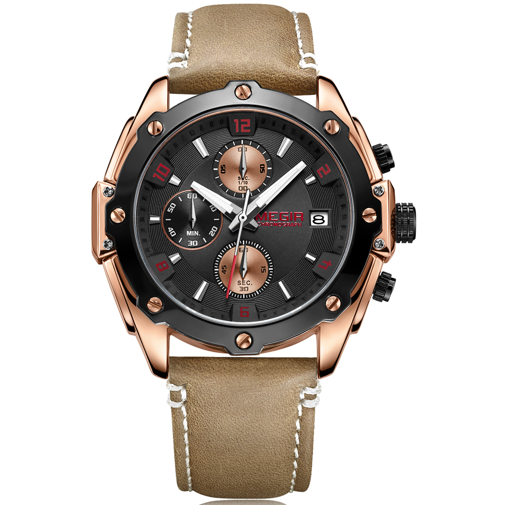 MEGIR Top Brand New Fashion Casual Chronograph Watch Men Gold Quartz Sport Watch Leather Wristwatch Clock Men reloj hombre 2018 fashion new personality black and white dial lover s quartz watch women top brand couple pu leather wristwatch reloj male clock