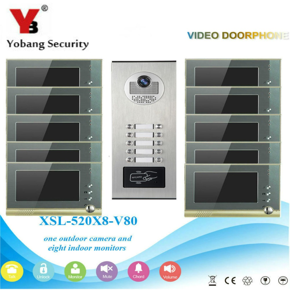 YobangSecurity Video Door Intercom 7Inch Video Door Phone Doorbell Intercom System RFID Access Door Camera For 10 Unit Apartment digital electric best rfid hotel electronic door lock for flat apartment