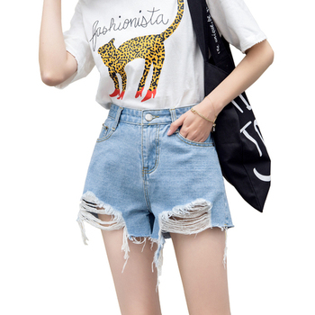 Fashion women's denim shorts Summer hole cats must have solid color hot pants Young lady streetwear фото
