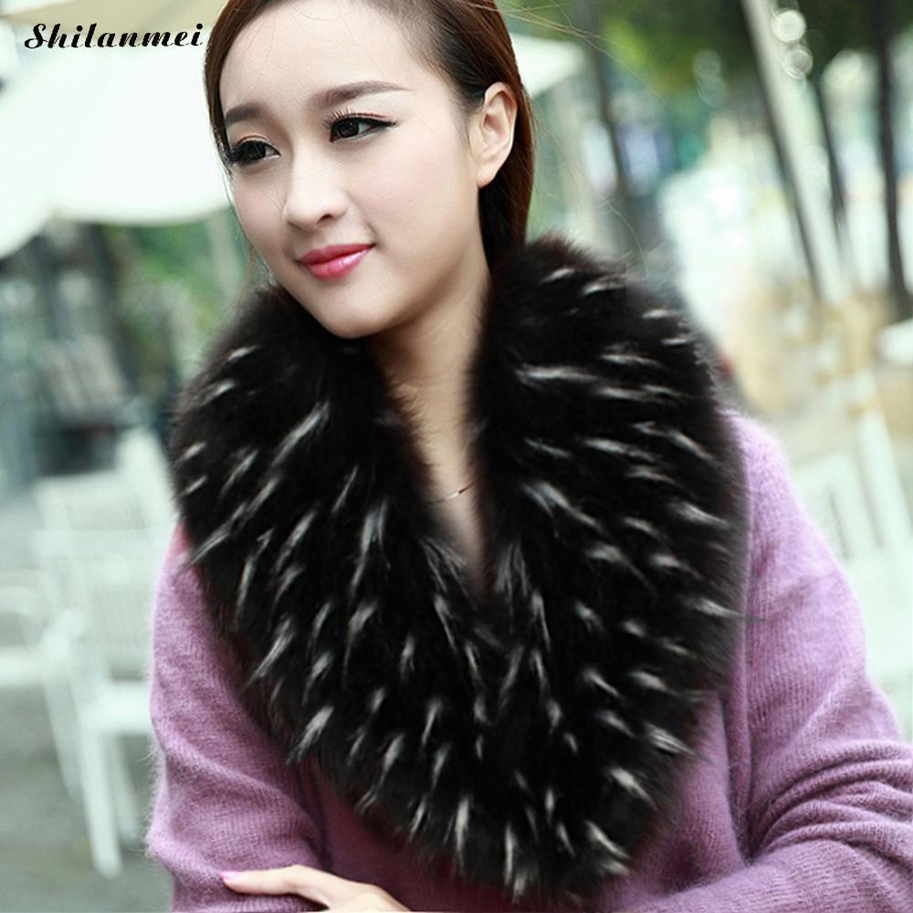 2018 Hot Sale Fur Collar Winter Warm Fur Womens Scarfs Fashion Faux Fur Coat Scarves Collar Luxury Fox Fur Neck Collar 14 Colors