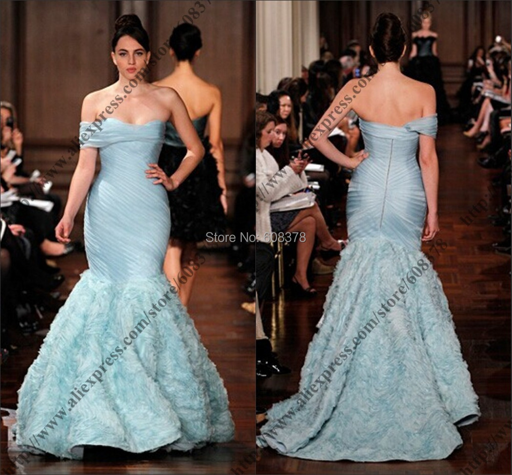 Fashion Runway Light Sky Blue Off Shoulder Organza Trumpet Mermaid ...