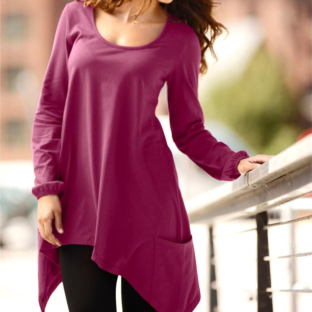 Women Shirts Autumn Blouses 2018 Plus Size Long Sleeve Tunic Tops Irregular Hem Loose Solid Color Blouse Feminina S-XXL