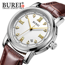 BUREI Automatic SelfWind Watch Men Stainless Steel Luxury Rhinestones Business Wristwatch Waterproof Man Clock Relojes Hombre