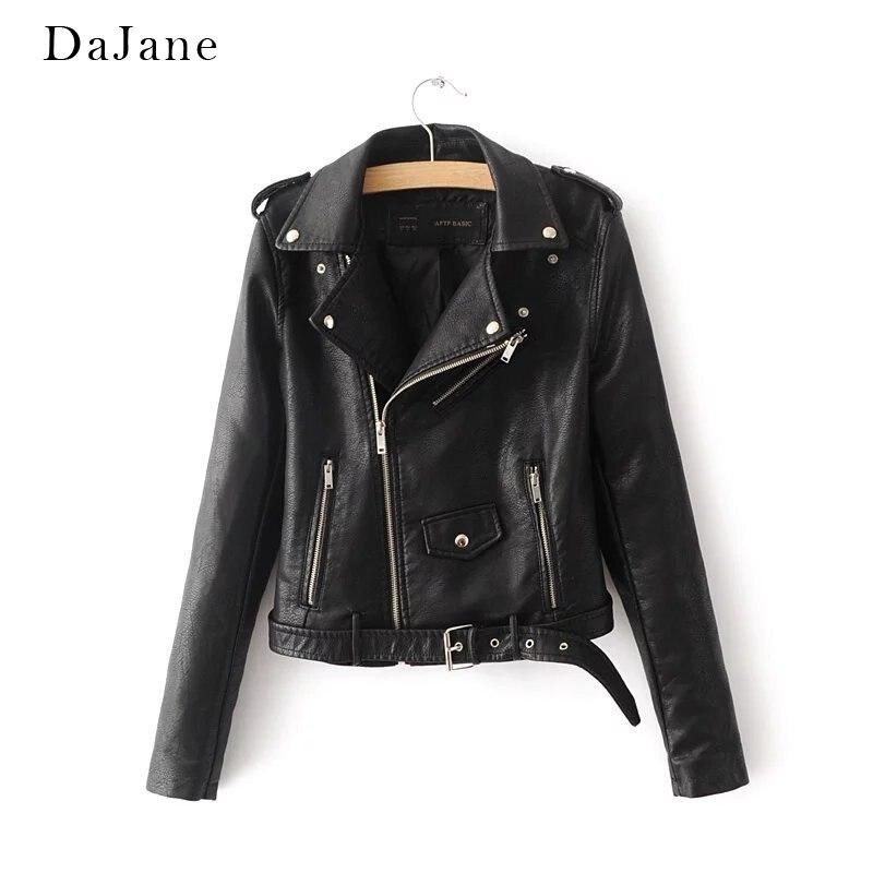 DaJane Ladies Europe Fashion Slim Slimming PU Jacket Locomotive Small   Leather   long-sleeved Short Jacket Female Spring