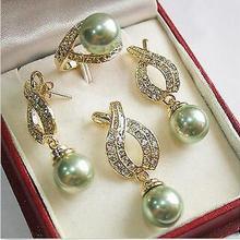 > Натуральный 12 мм зеленый жемчужный кулон ожерелье серьги кольцо наборы+ Цепочка