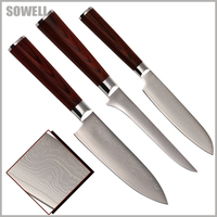 SOWELL New Damascus Style 5 Inch Santoku 6 Boning 8 Cook S Knife 9Cr18Mov Stainless Steel