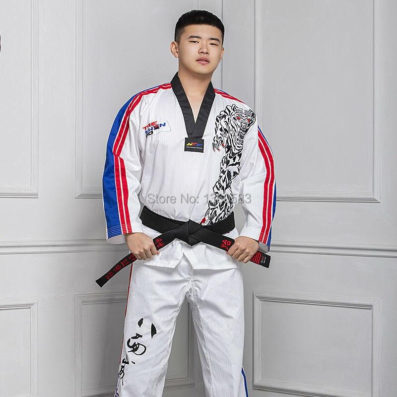 High-end men women Taekwondo dobok cotton bamboo Taekwondo uniform adult Taekwondo clothes male female clothing embroidery tiger op07cp
