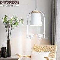 Qiseyuncai Nordic style restaurant chandelier modern minimalist bird bar dining room creative hallway aisle lamps free shipping