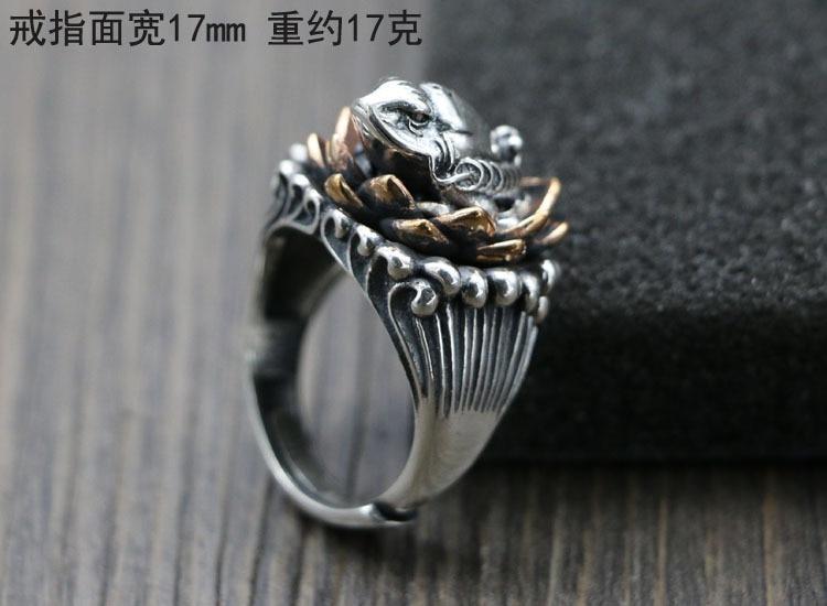Argento 925 di loto dell'annata rospo maschio carattere originale anello di apertura di regolazione indice Thai argento artigianato anelli-in Anelli di fidanzamento da Gioielli e accessori su  Gruppo 2