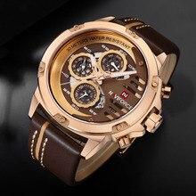 שעון גברים שעונים למעלה מותג יוקרה זכר ספורט הכרונוגרף שעונים גברים עור עמיד למים קוורץ שעון גבר שעוני יד 2018