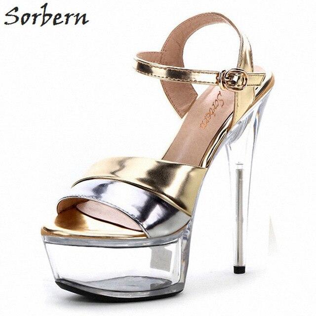 9b6733bfe64 Sorbern Fashion See Through Platform Sandals For Women Spike High Heels  Slingbacks Summer Shoe Women Clear