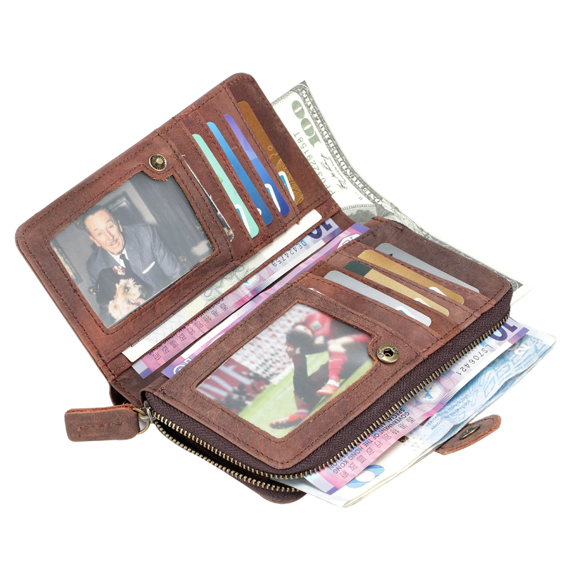 ФОТО High Capacity Men's Crazy Horse Genuine Leather  Card Wallet Hipster Purse Checkbook Cash Receipt Holder Hasp Coin Wallet Q320