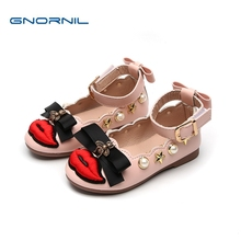 Kids Shoes for Girl Princess Flat 2019 Spring New Fashion Pearl Bow Children Shoes Girls Shoes Pu Leather Sandals Baby Shoes bakkotie 2018 spring new fashion baby girl patent leather bow red flat child rhinestone princess party shoe kid brand mary jane