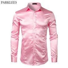 Dress Shirt Satin Long-Sleeve Pink Male Luxury Prom-Camisas Wedding-Club Silk Party Men