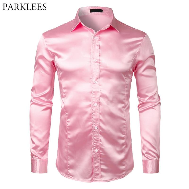 Pink Silk Satin Luxury Dress Shirt Men 2018 Brand New Slim Long Sleeve Tuxedo Shirt Male Wedding Club Party Dance Prom Camisas