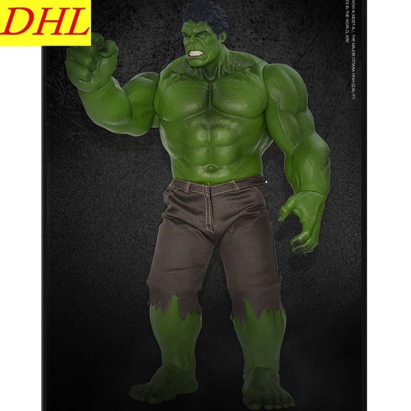 55 CM The Avengers Superhero Bruce Banner Hulk With Trousers And Cowboy Vest PVC Action Figure Collectible Model Toy L509 high quality avengers superhero hulk 1 4 bust robert bruce banner head portrait resin action figure
