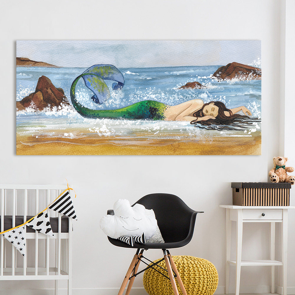 HDARTISAN Wall Art Mermaid Beach Printed Oil Painting Home Decor Canvas Pictures For Living Room No Frame