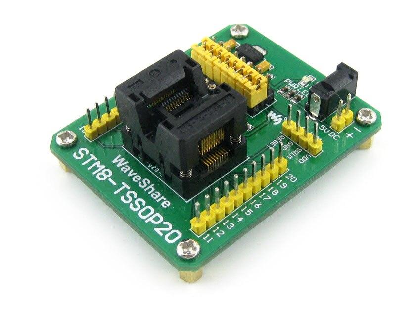 Modules STM8-TSSOP20 STM8 STM8S Programming Adapter IC Test Socket for TSSOP20 Package 0.65mm Pitch with SWIM Port modules qfp100 lqfp100 qfp stm32f2 stm32f4 stm32 ic test socket programming adapter 0 5pitch free shipping